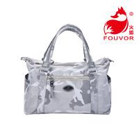 时尚迷彩配皮手提包 防水多功能大容量牛津布包